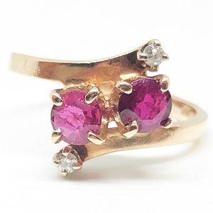 14k Yellow Gold Genuine Ruby & Diamond Ring